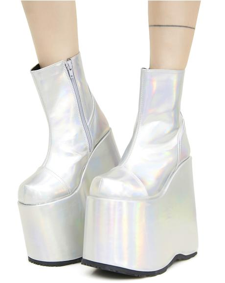 Cyberdelia Holographic Platform Boots