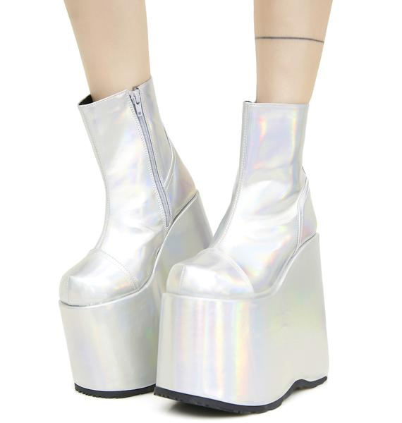 Demonia Cyberdelia Hologram Platform Boots