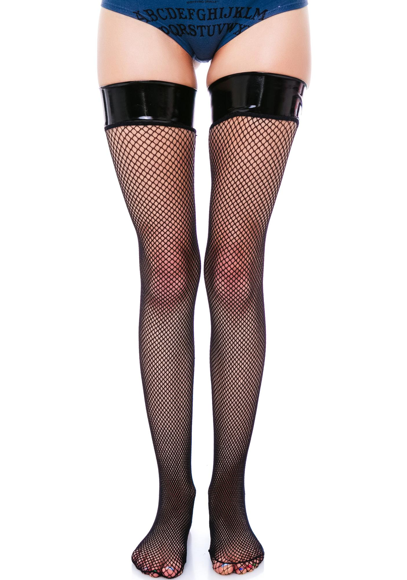 Madame Midnight Thigh High Fishnet Stockings