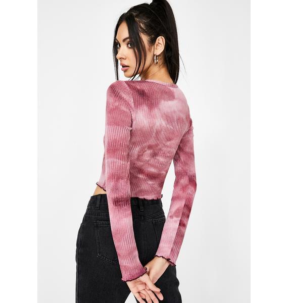 Honey Punch Raspberry Tie Dye Button Up Top