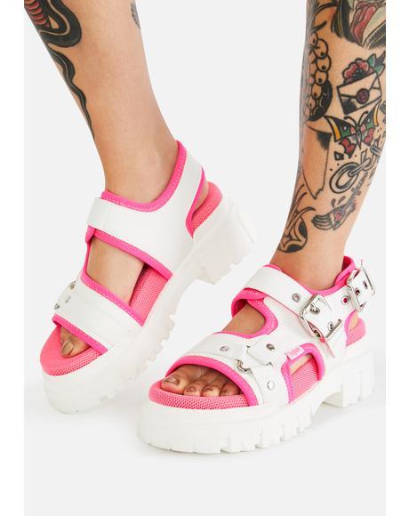 White & Neon Pink Jorja Sandals