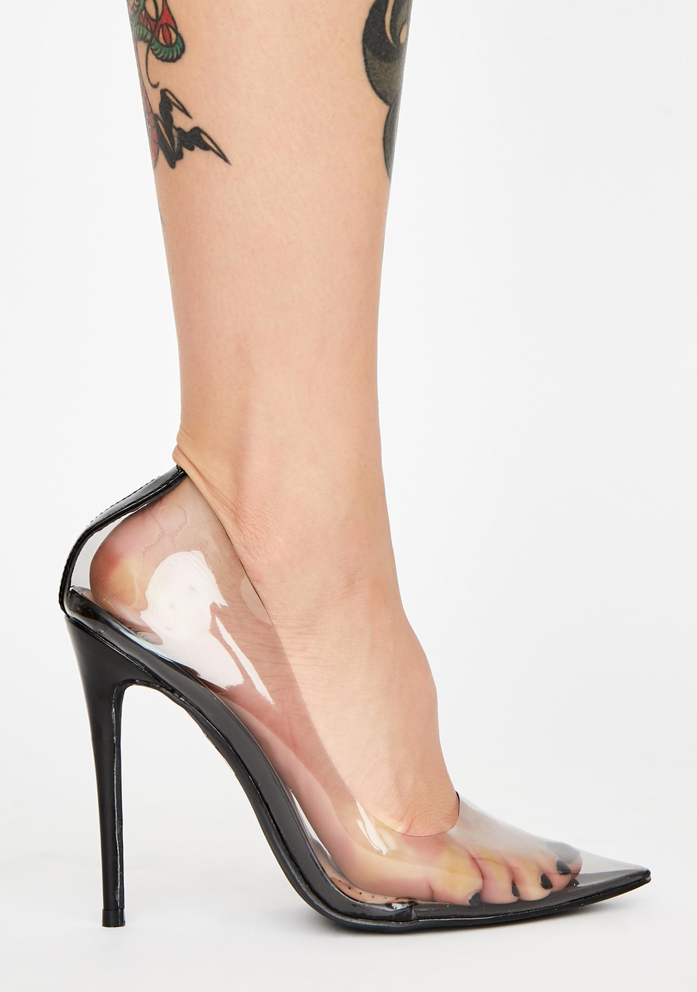 AZALEA WANG Smoke Madame PVC Heels