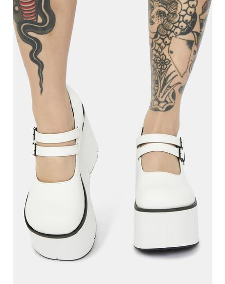 White Dollhaus Platform Mary Janes