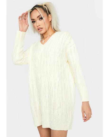 Cream Cuddle Weather Sweater Dress