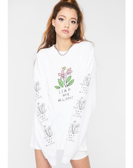 White Leaf Me Alone Graphic Tee