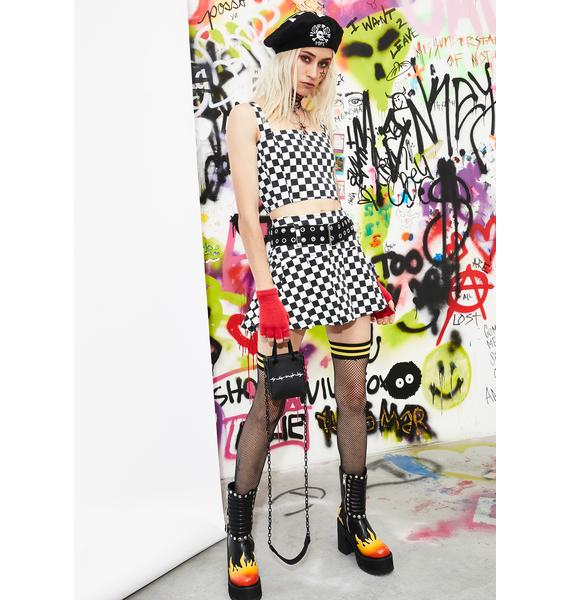 Current Mood See You There Checkered Skirt