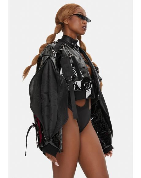 Vulva Sleeve Patent Bomber Jacket