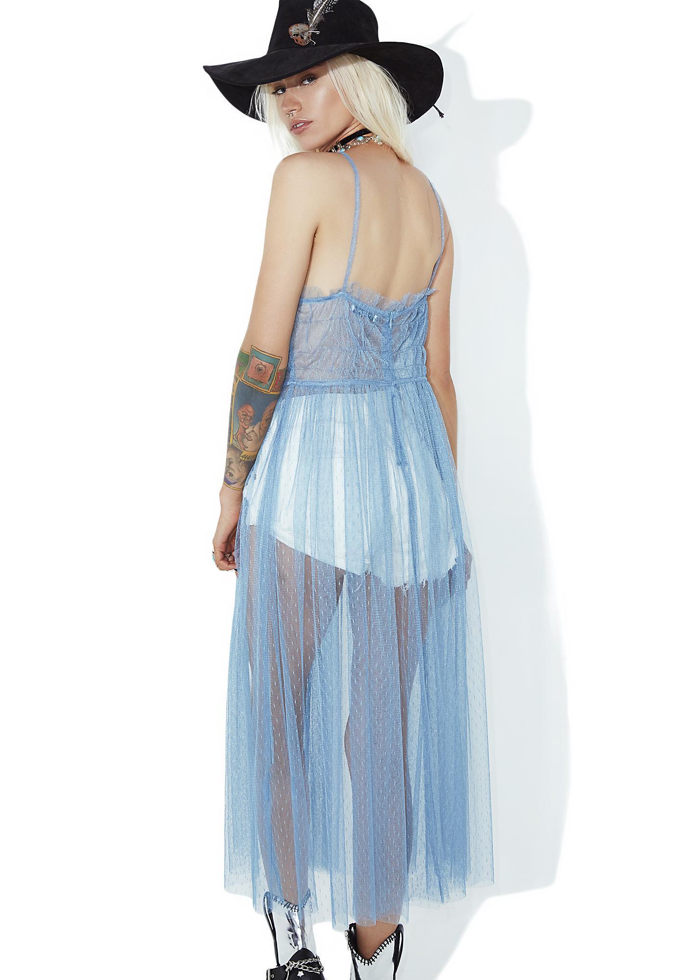 Glamorous Sapphire Sheer Ruffle Dress