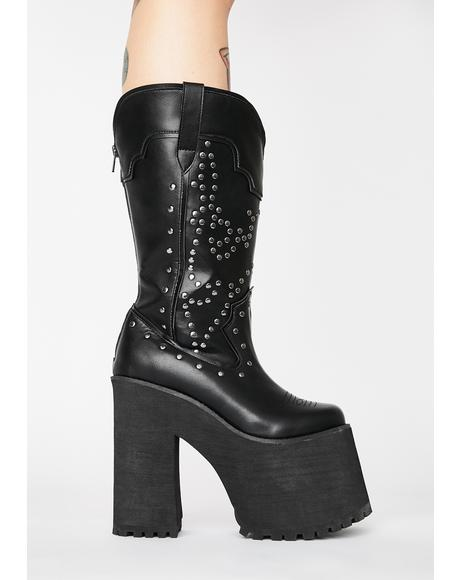 Bad Bitch Platform Cowboy Boots