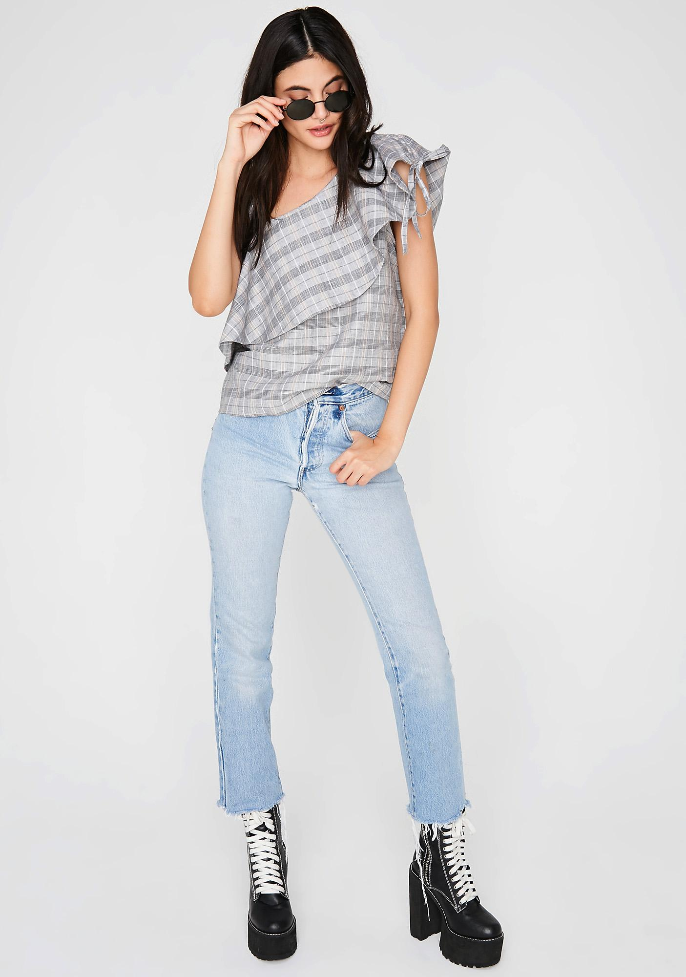 Scholastic Bae Plaid Top