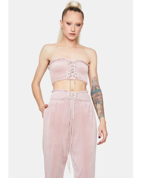 Mauve Nothing To Prove Lace Up Jogger Set