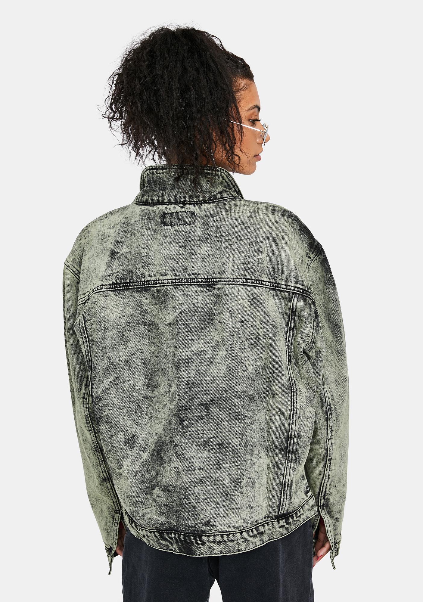 Liquor N Poker Acid Wash Oversized Denim Jacket