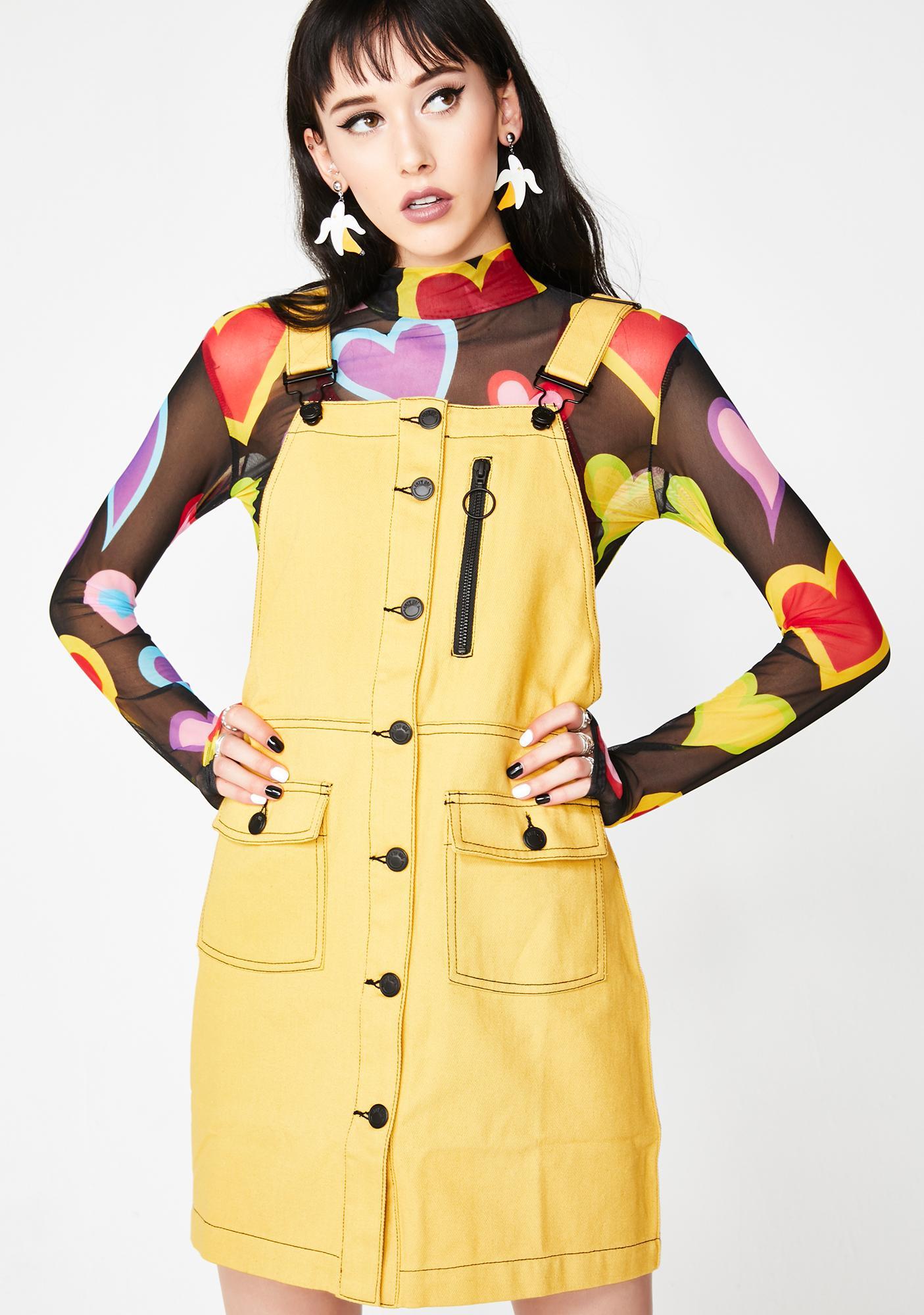 7dcd10046a7 Lazy Oaf Yellow Pinafore Dress