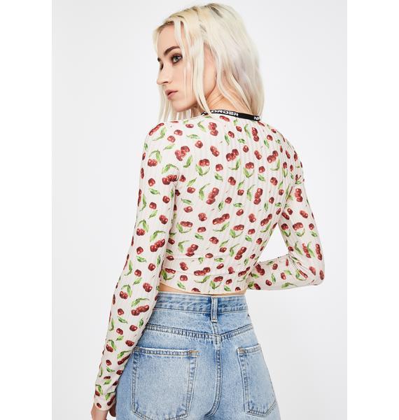 NEW GIRL ORDER Cherry Long Sleeve Top