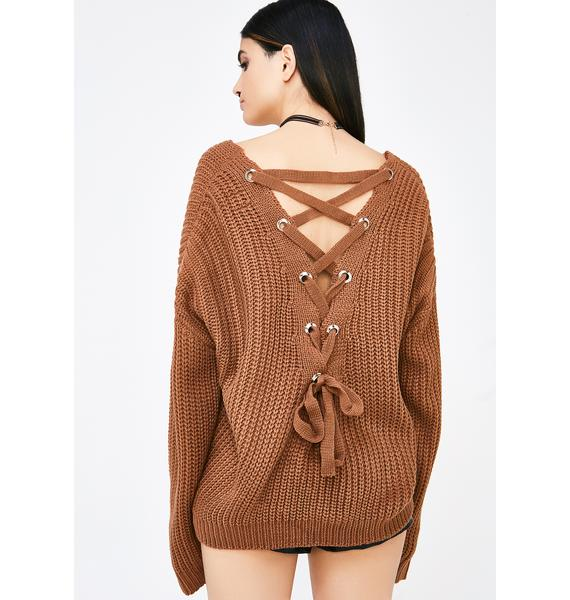 I'll Be Back Lace-Up Sweater