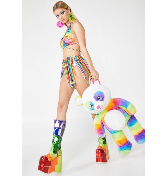 Kanditoybox Rainbow Fringe Kandi Skirt