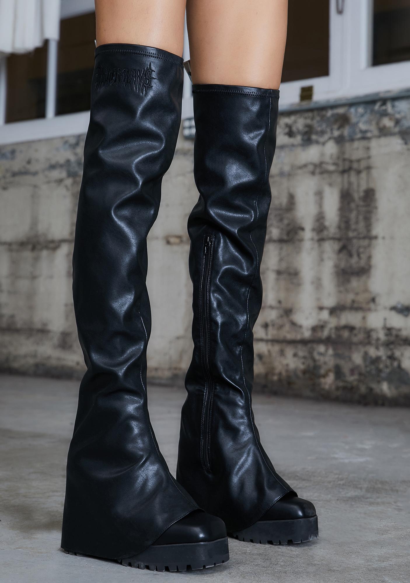 DARKER WAVS Kickdrum Thigh High Pant Boots