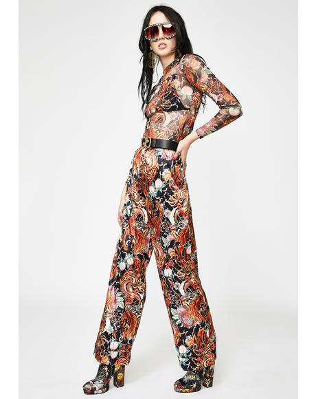 Phoenix Dragon Wide Leg Trousers