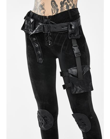 Black Skinny Pants With Leg Utility Harness