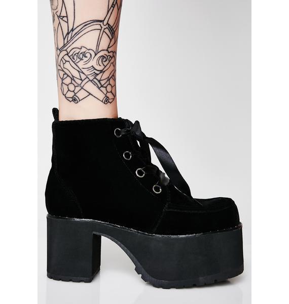 T.U.K. Black Velvet Spiked Nosebleed Boots