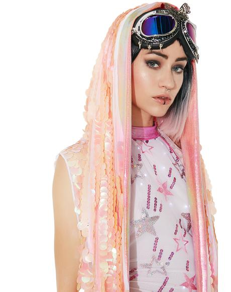 Peachy Keen Holographic Hooded Vest