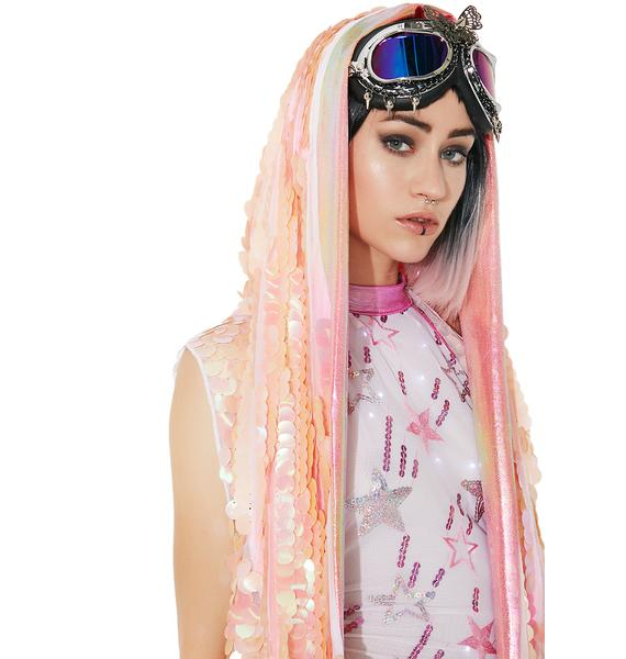 Rolita Rave Couture Peachy Keen Holographic Hooded Vest