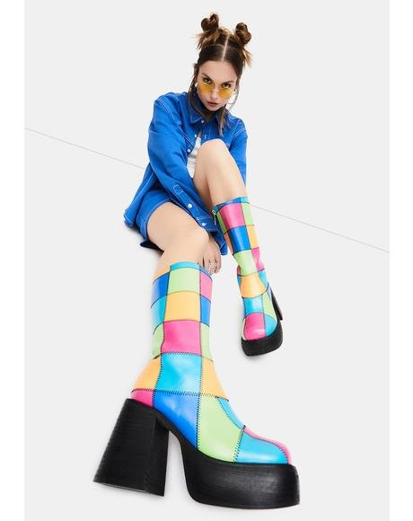Colorful Life Patchwork Boots