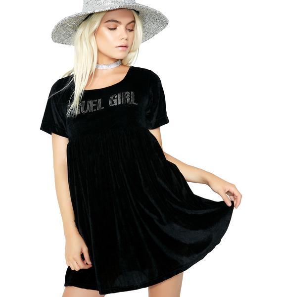 O Mighty Cruel Girl Velvet Babydoll Dress