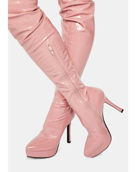 Money Making Moves Pink Thigh High Boots