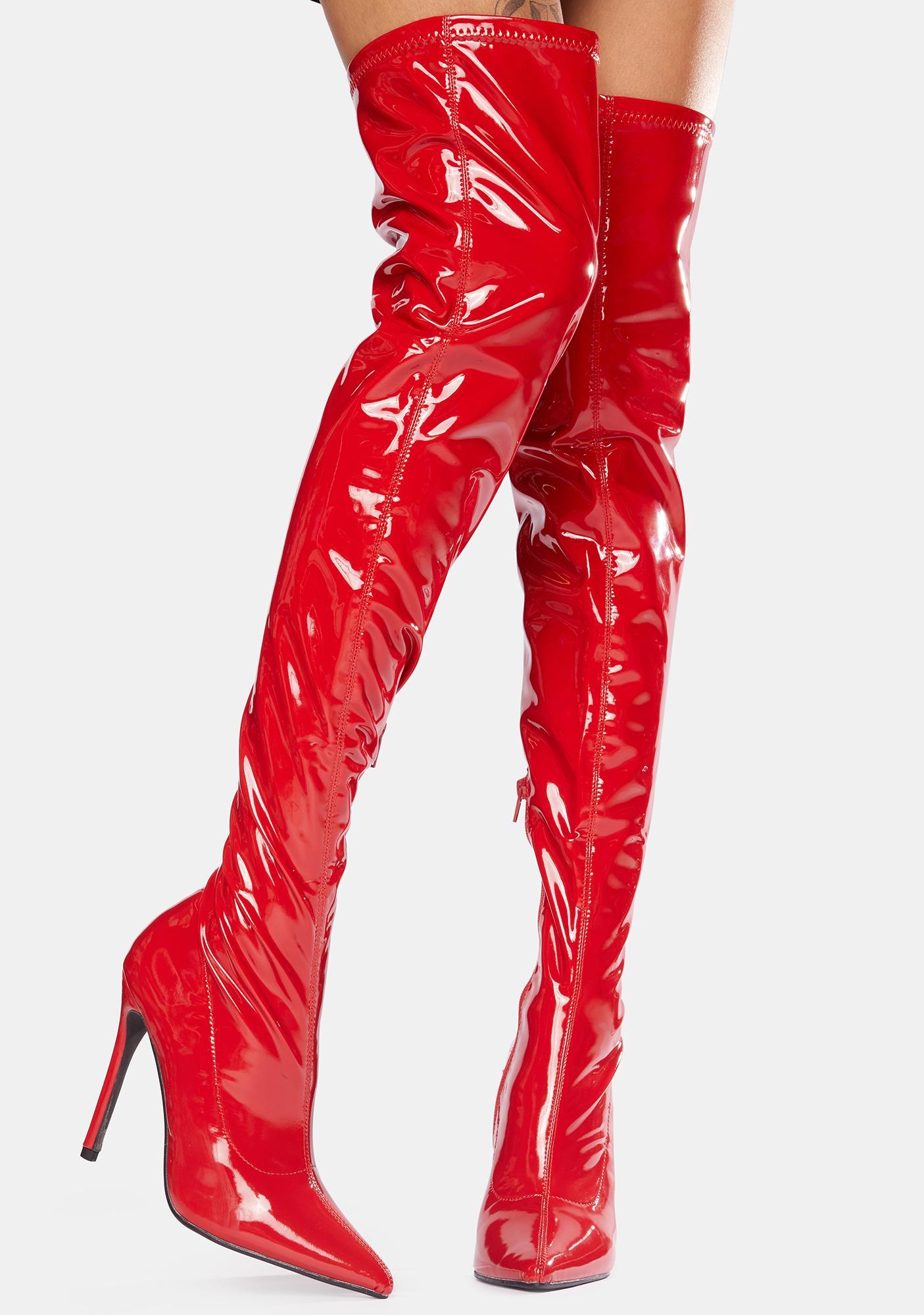 Public Desire Red Confidence Patent Stiletto Boots