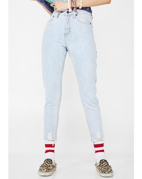 Powder Blue High Waist Mum Jeans