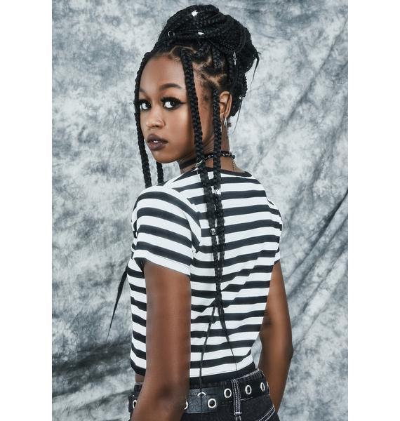 dELiA*s by Dolls Kill Truth Or Scare Striped Baby Tee