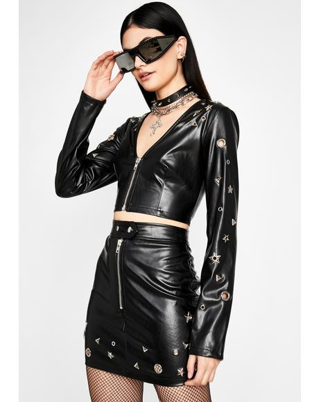 Star Matrix Vegan Leather Skirt