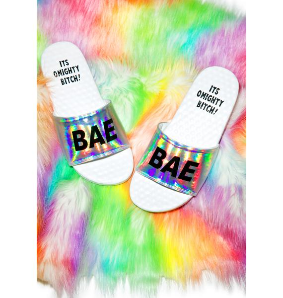 O Mighty Hologram Bae Slide Sandals