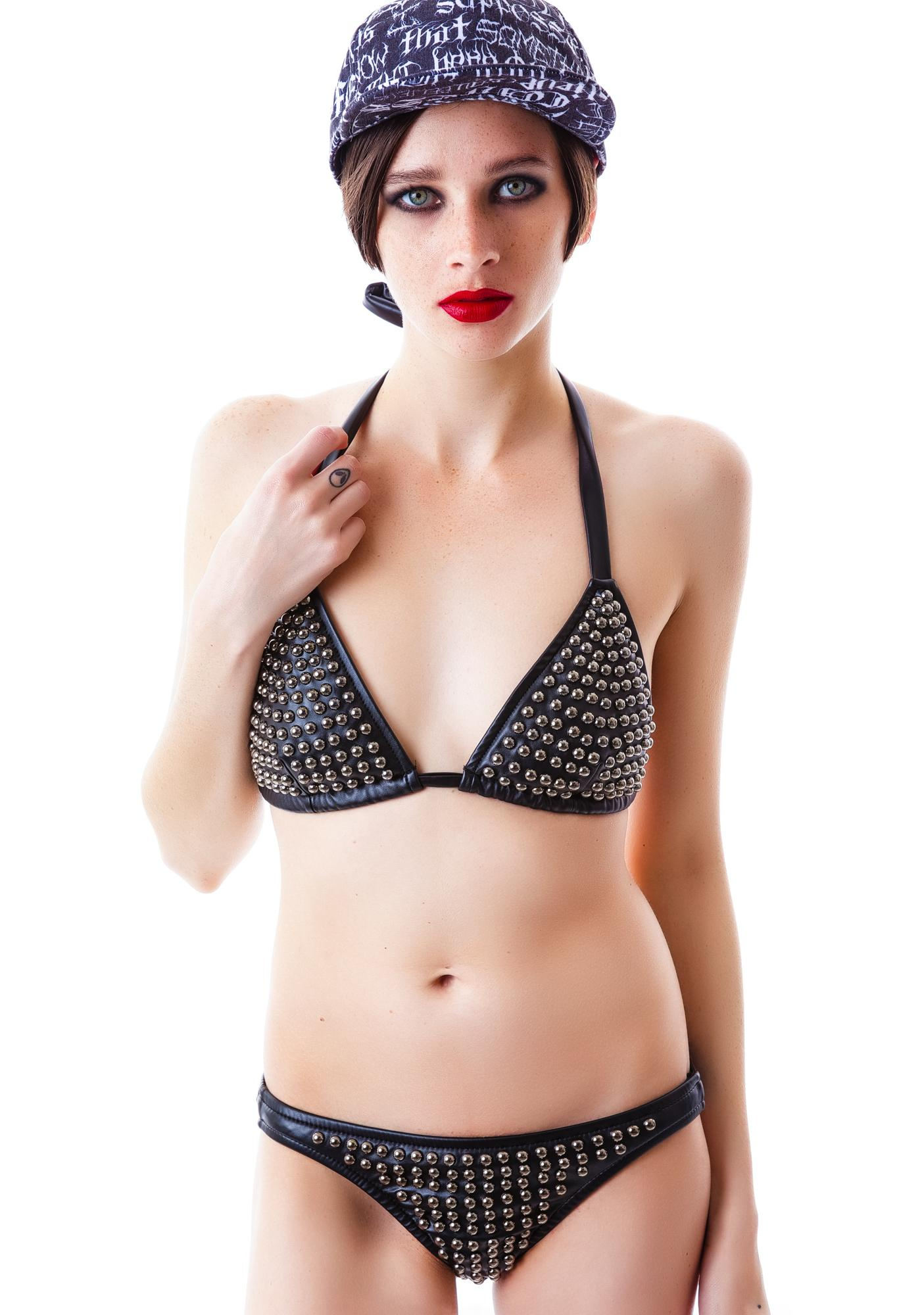 J Valentine Calling Danger Studded Faux Leather Bikini