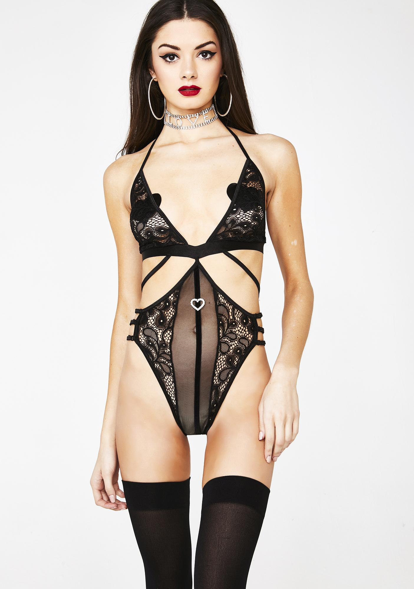 bf7d6d29e49 Black Sheer Lace Strappy Teddy Bodysuit