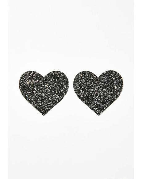 Black Chunky Glitter Heart Pasties