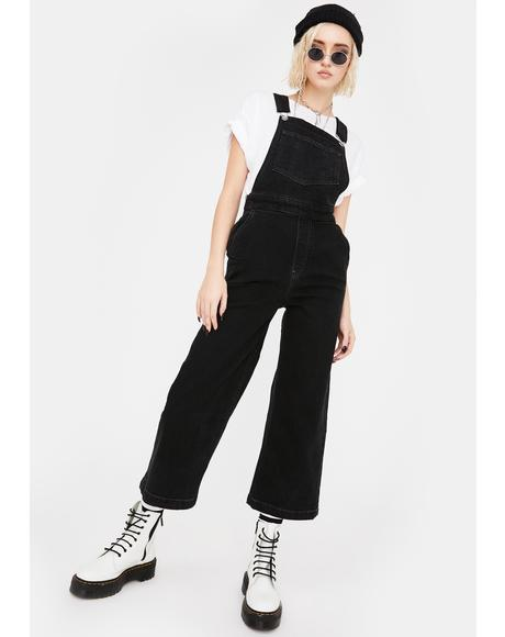Wide Leg Denim Overalls
