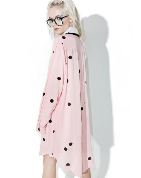 Flock Spot Shirt Dress