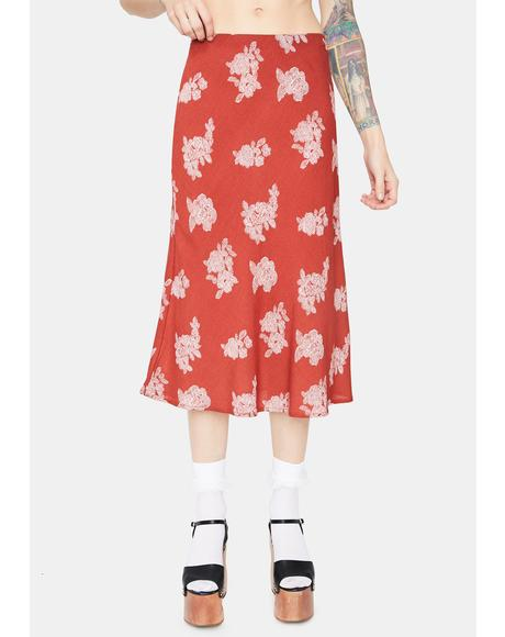 Rust Just Friends Floral Midi Skirt
