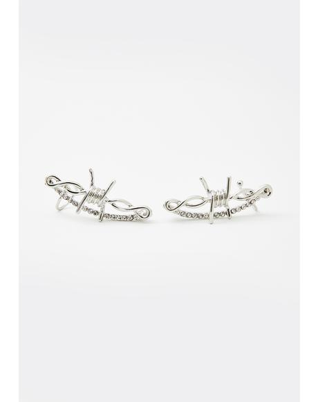 Caged Rage Barbed Wire Ear Cuffs