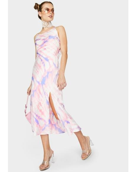Bias High Neck Midi Dress