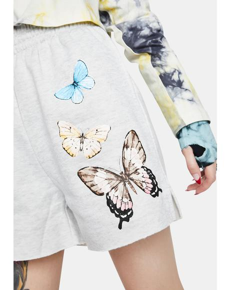 Heather Grey Butterfly Lounge Shorts
