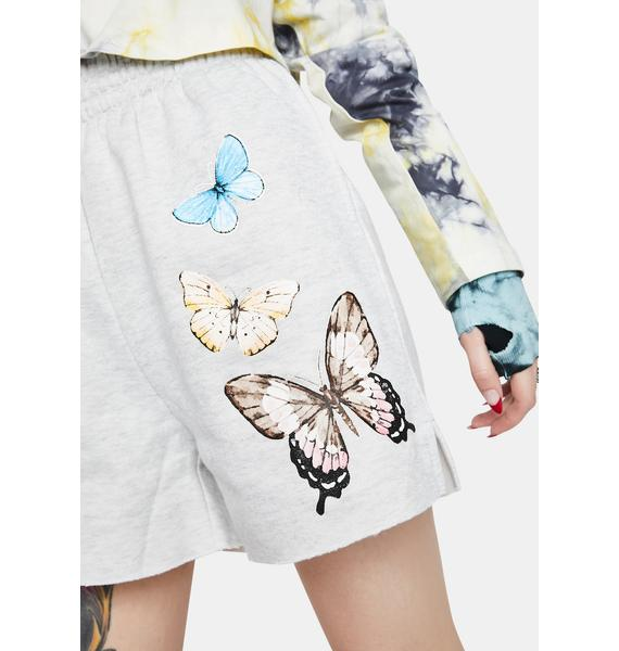 Bailey Rose Heather Grey Butterfly Lounge Shorts