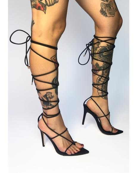 Black Nappa Lace Up Heels