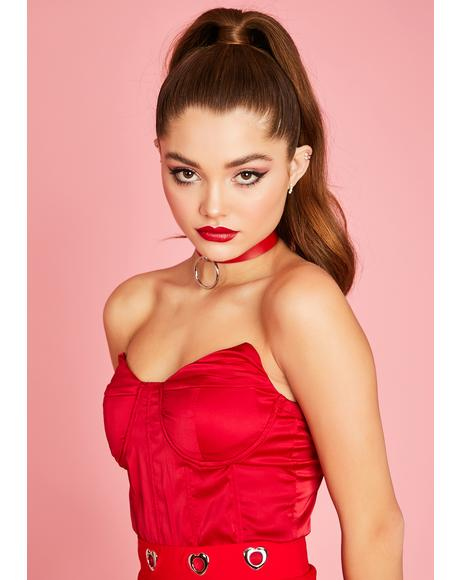 Share My Love Satin Bustier Top