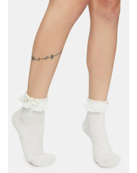 Petal Power Floral Ruffle Ankle Socks