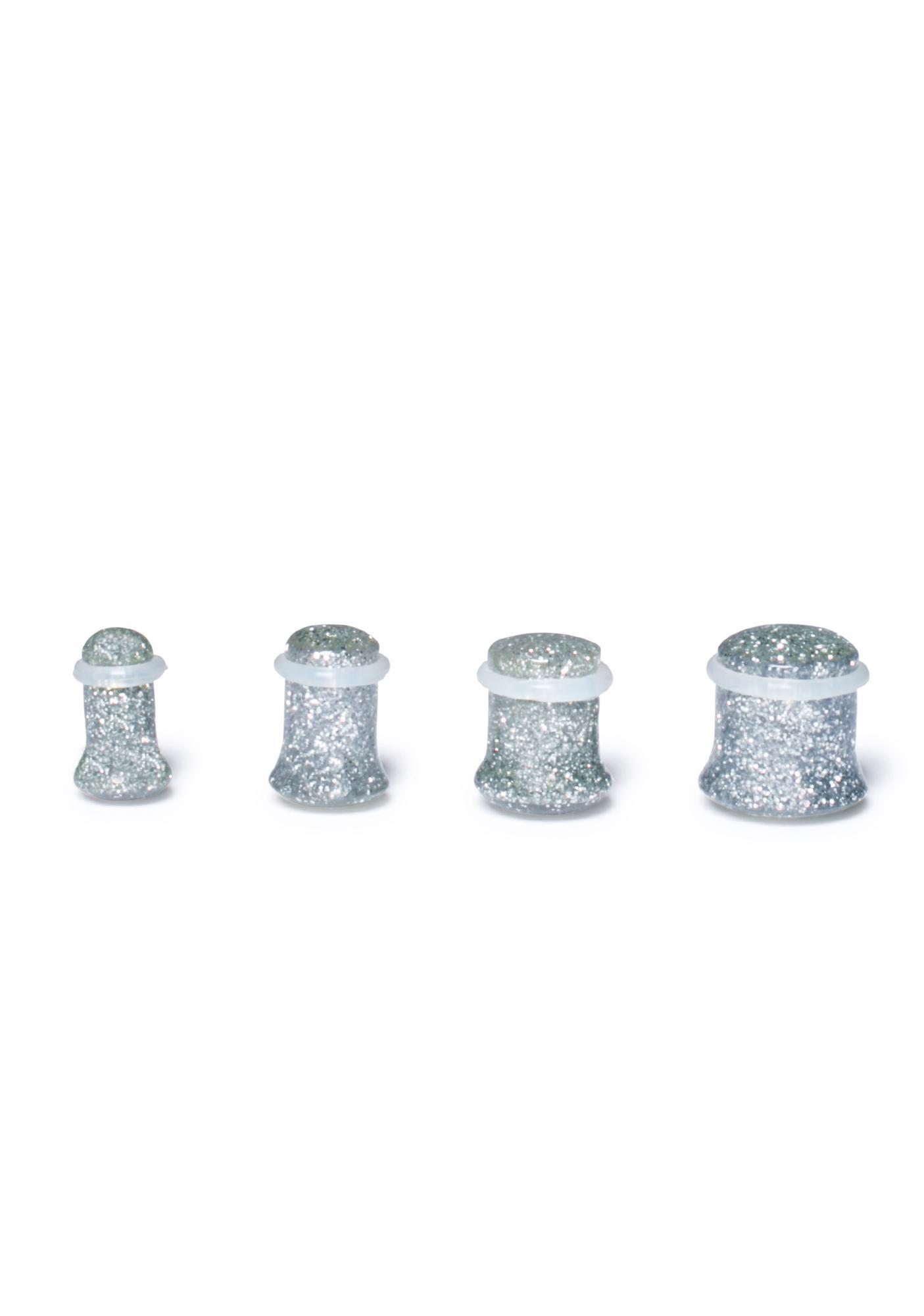 Silver Dreams Gauged Glitter Plugs
