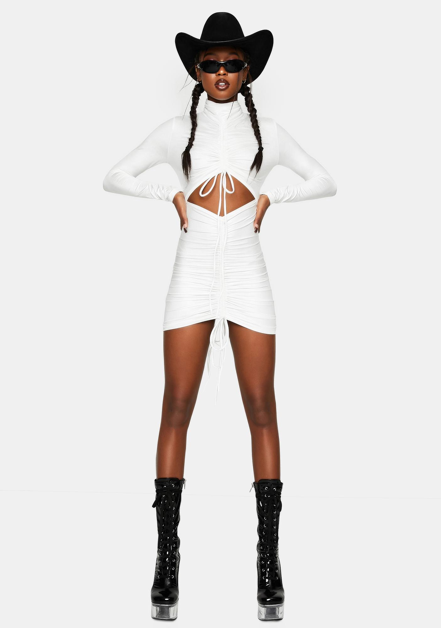 Kiki Riki White Ruched Front Dress