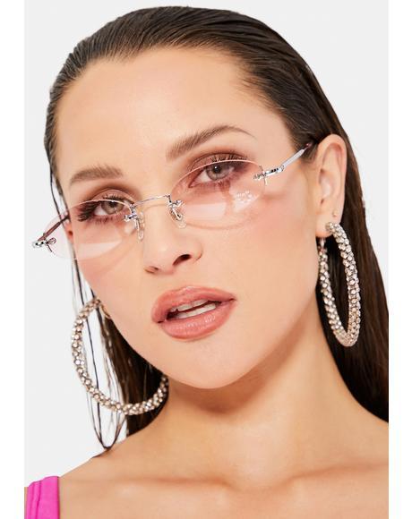 Pink Oval Rhinestone Sunglasses